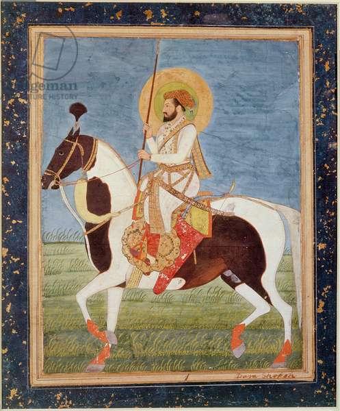 J.4 no.1 Murad Bakhsh on horseback, inscribed on bottom right hand corner 'Dara Shekoh', Mughal, c.1650, (gouache)