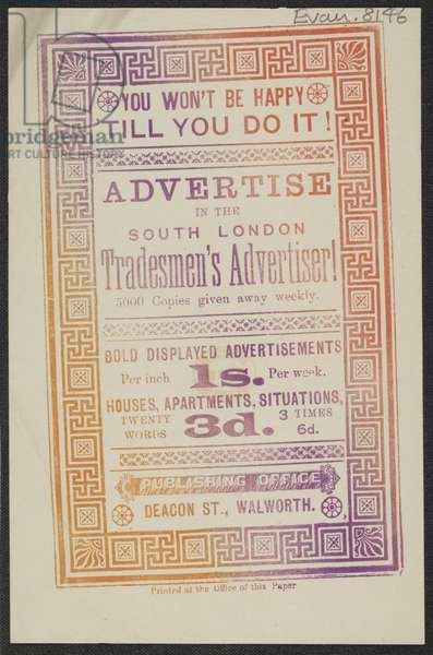Advert for the 'South London Tradesman's Advertiser', 1885 (print)