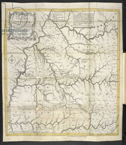 A Map of Kentucky, in The Discovery, Settlement and present State of Kentucke, 1784 (engraving)