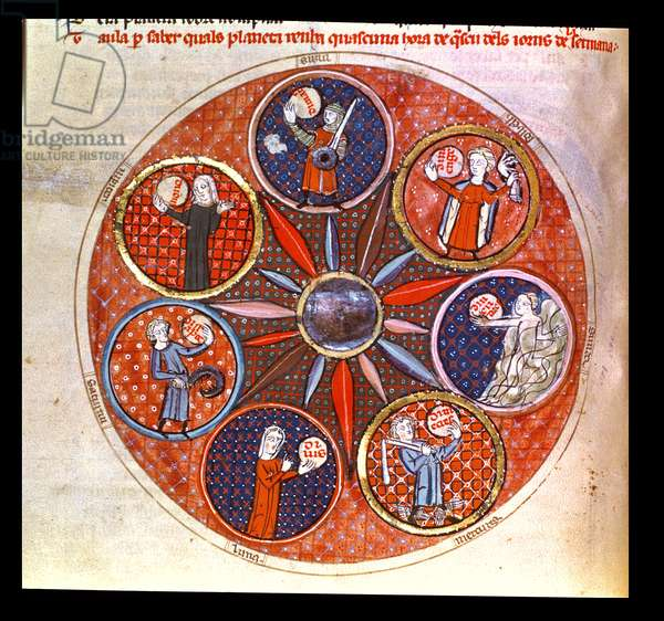 Royal Ms 19 C I fol.53v The planets governing the days of the week, early 14th century (vellum)