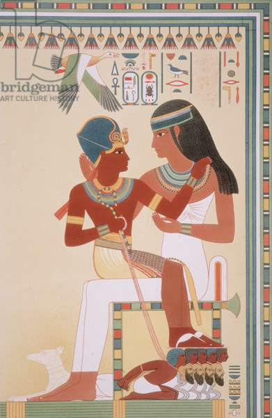 746.c.1. & f.8 Amounoph II and his Governess from 'Histoire de l'Art Egyptien d'apres les Monuments', Paris, 1879, by A.C.T.E. Prisse d'Avennes