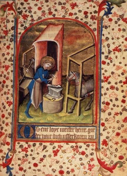 Egerton 859 fol.17 St. Eligius (588-660) shoeing a horse, from 'Prayers to the Saints' (vellum)
