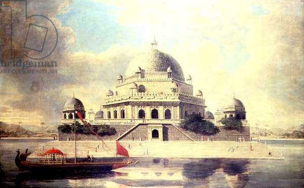 Mausoleum of the Emperor Shir Shah Sur of Bengal, in a large Tank near Sasaram in Bihar, India, printed by Francis Swain Ward, 19th century