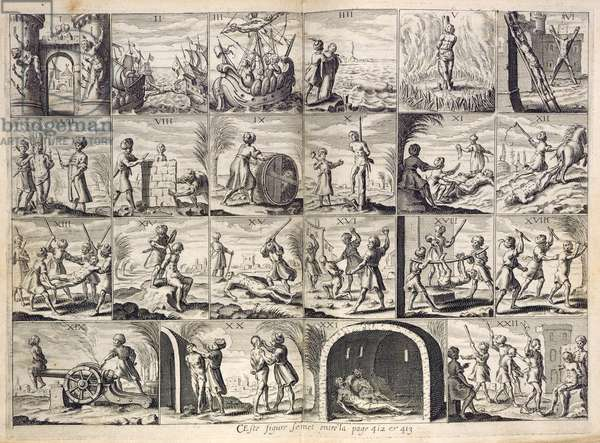 Scenes of torture carried out by the Barbary pirates or Corsairs, illustration from 'Histoire de Barbarie, et des Corsaires...' by Pierre Dan, 1637 (engraving)