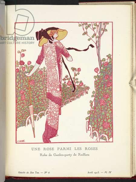 """""""Une Rose Parmi les Roses - Robe de Garden-party de Redfern en voile araignée garnie de dentelle à l'aiguille. Illustrating design by John Redfern."""