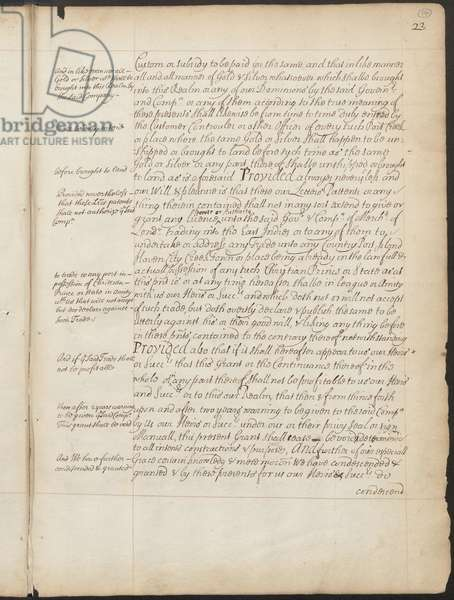 """East India Company Charter, Page 23, Copy Letters Patent of Elizabeth I granting to the Earl of Cumberland and 215 others the power to form a corporate body to be called the """"Governor and Company of Merchants of London, trading into the East-Indies"""" and naming Thomas Smith the first Governor, 31 December 1600 (pen & ink on paper)"""