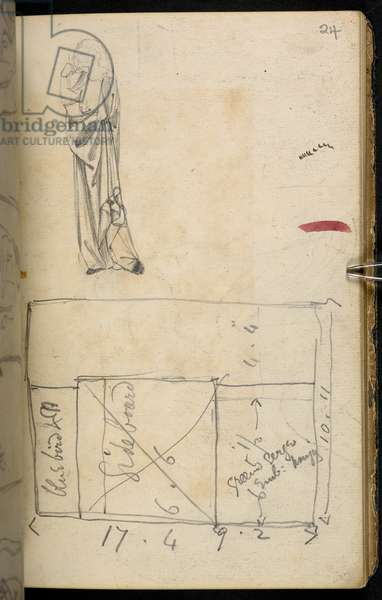 Sketches, drawings, plans, and notes, mainly connected with the designing and artistic work of Morris, Marshall, Faulkner and Co., founded April 1861, of which Morris was manager and one of the most active designers, Add MS 45336, f.24r (pencil on paper)