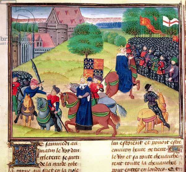 Royal 18 E.1, F.175 The death of Wat Tyler at Smithfield, London, in 1381 during the Peasants' Revolt, illustration from 'Chroniques de France et d'Angleterre', by Jean Froissart, c.1460-80 (vellum)
