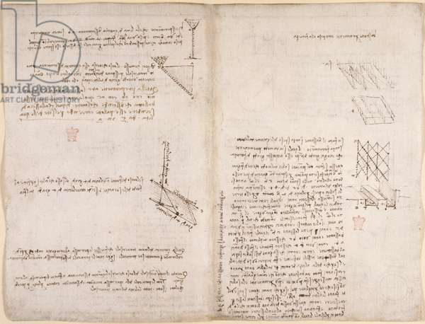 Arundel 263, f.120v, f.121 Notes and diagrams on mechanics, concerning the velocity of liquids, c.1503-6 (pen & ink on paper)
