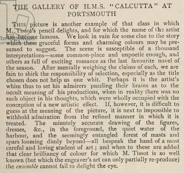 Review of James Tissot, The Gallery of the H.M.S. Calcutta at Portsmouth, in 'The Graphic', 18 August 1877, p.150 (print)