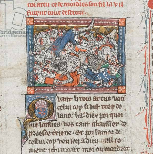 Arthur mortally wounded, from 'La Mort le Roi Artus', Add Ms 10294 f.93, c.1316 (vellum)