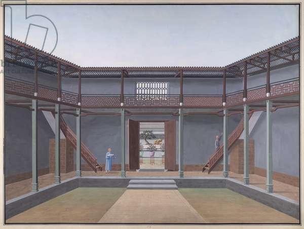 Honam Temple - Courtyard with veranda and balcony, 1800-05 (opaque w/c on paper)