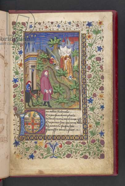 Opening page. A gentleman in a landscape, followed by another mounted on a horse, with three ladies.   Le livre des quatre dames; par Alain Chartier. Le livre des quatre  dames; par Alain Chartier.  Chartier, Alain, Unspecified, Secretary to Charles VII