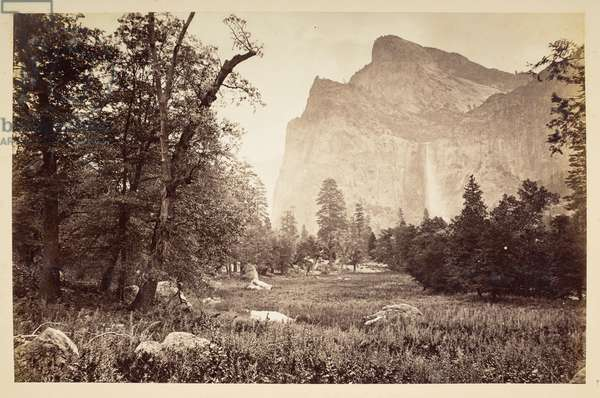 Bridal Veil Fall, Yosemite Valley, 1870-79 (b/w photo)