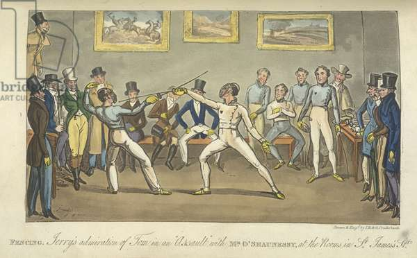 Two men fencing, 'Life in London, etc.', by Pierce Egan, 1823 (colour litho)