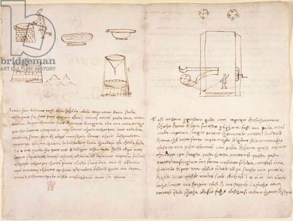 Arundel 263, f.259v, f.260 Notes and crude sketches on the process of producing saltpetre to prepare gunpowder (not in Leonardo's hand) (pen & ink on paper)