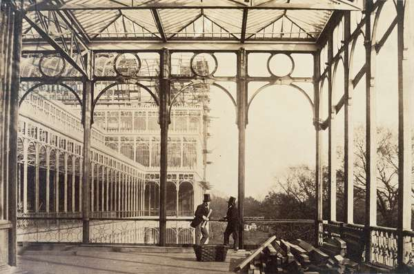 Colonnade, from 'Photographic Views of the Progress of the Crystal Palace, Sydenham', 1855 (b/w photo)