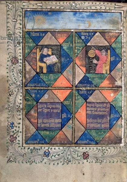 Add MS 10302 f.67v Horoscopes from 'The Ordinal of Alchemy' by Thomas Norton, c.1477 (vellum)