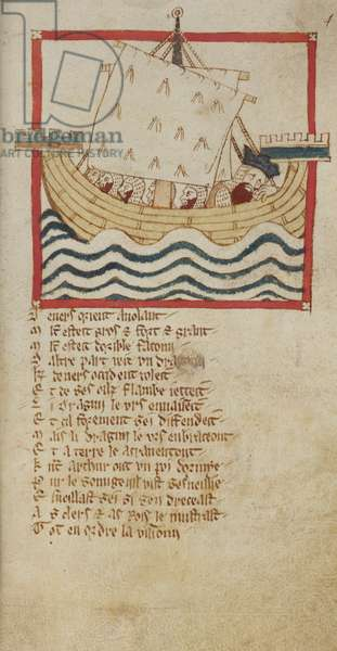 Egerton 3028, f.48 King Arthur asleep on board a ship, accompanied by his knights, illustration from 'Verse Chronicle of Roman de Brut', by Wace, Canon of Bayeux (vellum)