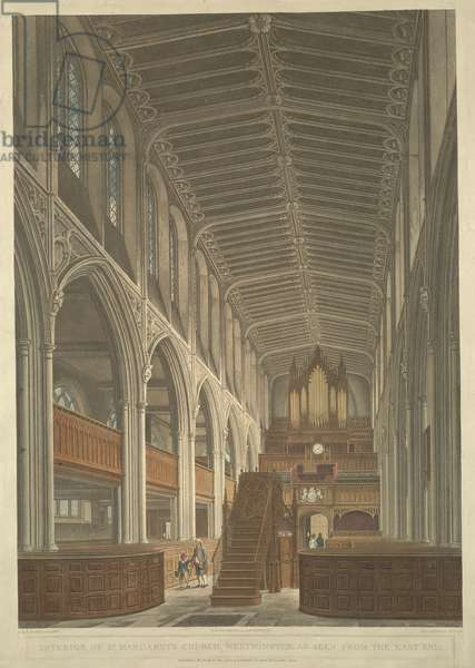 A coloured interior view of the church; steps leading up to the pulpit in centre foreground; a man leads a young boy past the pews to the left; large arches separating aisles on either side; a grand organ and clock at the far end