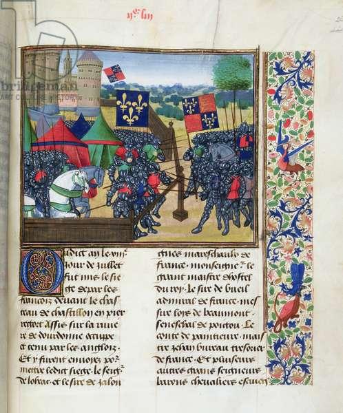 Ms Roy 20 C IX f.263 Siege of Castillon-sur-Dordogne, by Jean Chartrier, late 15th century, from the 'Cronique du Temps de Treschretien Roy Charles VII' (vellum)