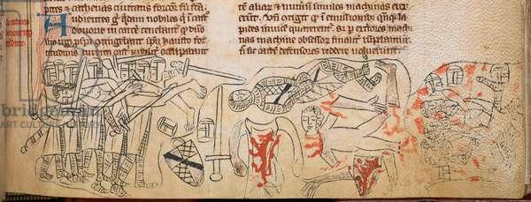 Cotton Nero D. II, f.177, Battle of Evesham and death of Simon de Montfort, 4th August 1265, from 'Chronica Roffense' by Matthew Paris (vellum)