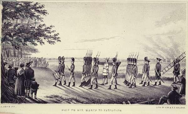 Nathan Hale on the way to his execution, 1856 (litho)