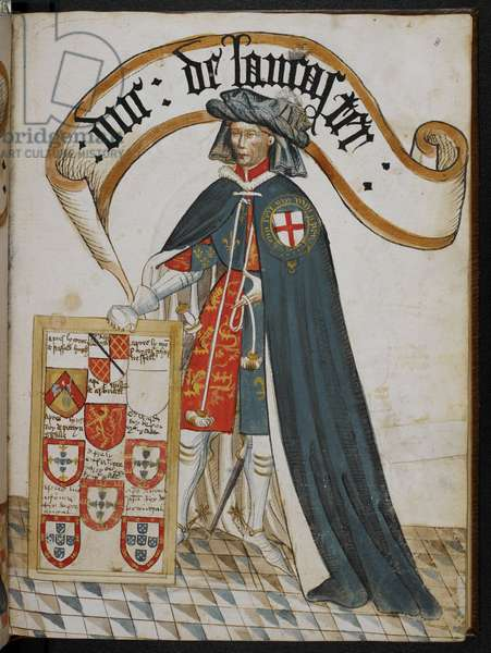 Stowe 594 f.8, Portrait of Henry, Duke of Lancaster, a Knight Founder of the Order of the Garter, illustration from 'William Bruges' Garter Book', c.1450 (tempera on vellum)