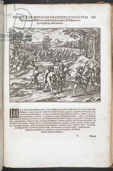 Naked men being rounded up by European soldiers, illustration ' Americæ pars quinta. Nobilis ... ' by Theodore de Bry, 1595 (litho)