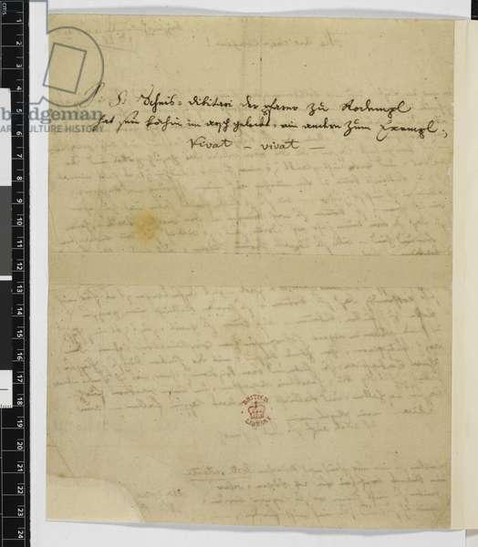 Zweig 66 f.1v Letter to Maria Anna Thekla Mozart, 23rd December 1778 (ink on paper)