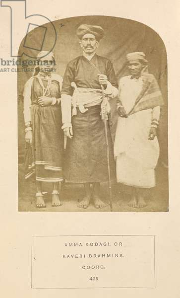 'Amma Kodagi or Kaveri Brahmins',  from 'The People of India: A series of photographic illustrations, with descriptive letterpress, of the races and tribes of Hindustan', Vol. VIII by John Forbes Watson, 1868-1875 (b/w photo)