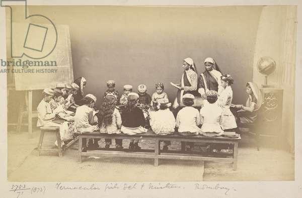 Class with mistress in vernacular girls' school, Bombay, c.1873