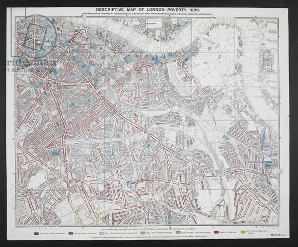 Detail showing the City of London and the East End', Descriptive Map of London Poverty by Charles Booth, 1889 (coloured engraving)