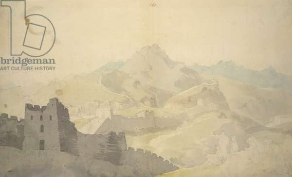 The Great Wall of China, from Album of 220 drawings, chiefly profiles of coastlines, costumes and everyday life made during Lord Macartney's embassy to the Emperor of China, WD 961, f.60, 1792-94 (w/c on paper)