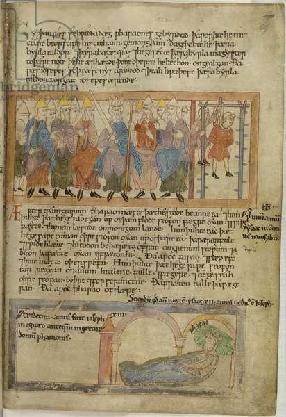 Cotton Claudius B. IV, f.59  Pharaoh has his chief baker hanged, vellum, 11th century