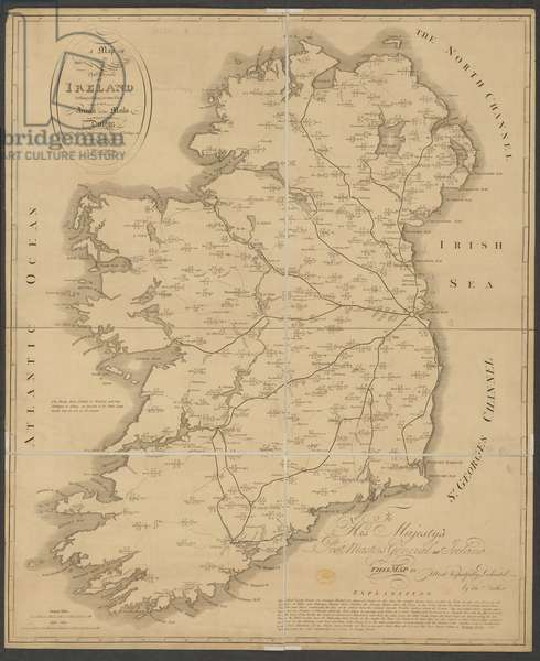 A map of the Post Roads of Ireland