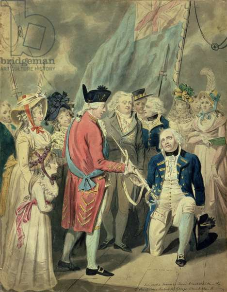 Admiral Collingwood (1750-1810) Receiving the Silver Sword (w/c on paper)