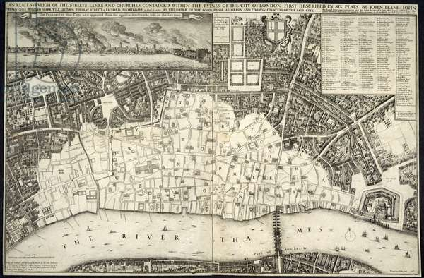A map of the area of London affected by the great fire of London in 1666.