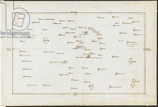 Add. 21593 C Chart of the Society Islands, with Otaheite [Tahiti] in the centre, from 'Charts and Maps made during the Voyage of Discovery in the South Pacific Ocean, by Captain James Cook, commander of the Endeavour, in 1769 and 1770', July-August 1769 (ink on paper)