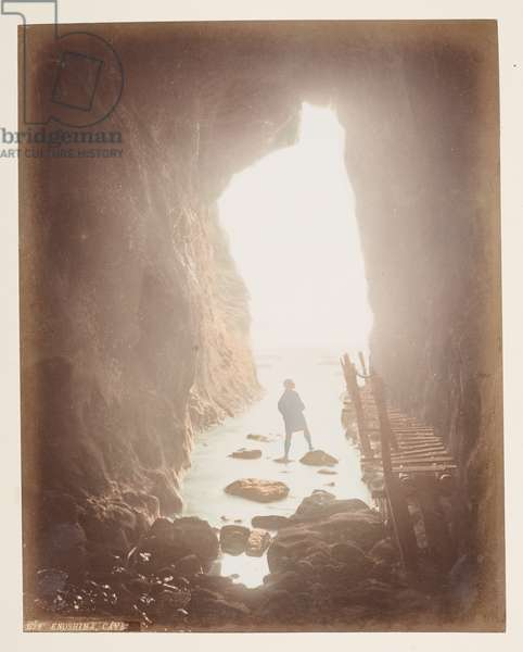 Enoshima Cave, from A Book of Coloured Photographs of views in Japan, 1895 (coloured photo)