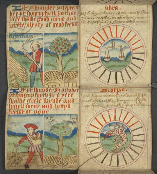 Add. 17367, f.7r Libra & Scorpio, from Almanac, containing table of dominical letters and golden numbers; directions to find the movable feasts; calendar of Saints, epochs, list of English Sovereigns, prognostications of weather, influence of the signs of the zodiac (vellum)