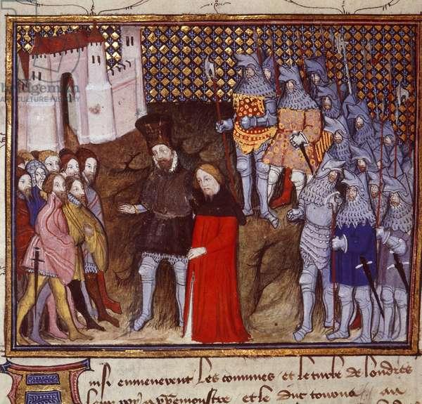 MS Harley 1319 fol.53v  King Richard II (1367-1400) led captive by Henry Bolingbroke (1367-1413) to London, renounces the throne, illustration from 'Histoire du Roy d'Angleterre Richard II' by Jean Creton, 1401-05 (vellum)