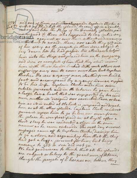 Egerton MS 2177 A f.367r Captain Cook: Journals III, 1778 (ink on paper)