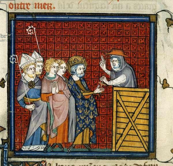 Cardinal Simon preaches a crusade before King Louis IX of France, from 'Chroniques de France ou de Saint Denis, vol. 1' (vellum)