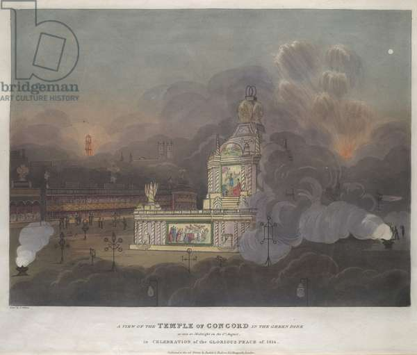 A night scene of the Temple of Concord surrounded by fireworks and smoke; crowds of people watching from the stalls in the background