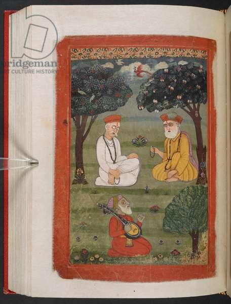 MS Panj B 40, f.131v, Bhagat Kabir ji and Guru Nanak Dev ji meeting, illustration from the 'Biography of Guru Nanak', 1733 (vellum)