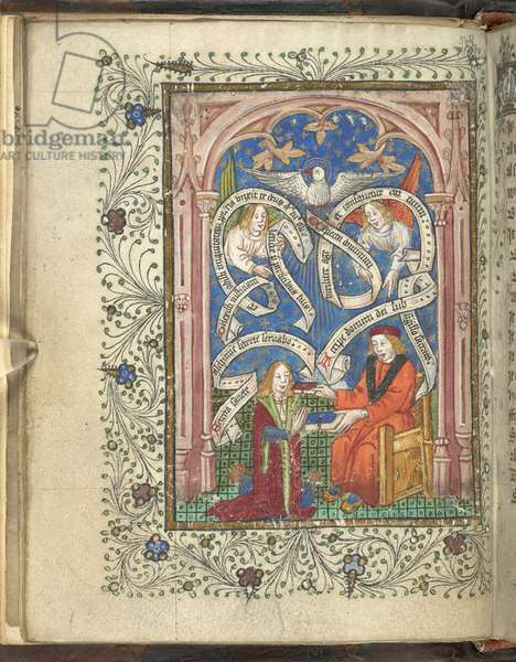 A kneeling pupil, perhaps representing the author, Norton, receiving a book from his master, with angels, written scrolls and a dove above. Ordinal of Alchemy. Thomas Norton 4th quarter of the 15th century