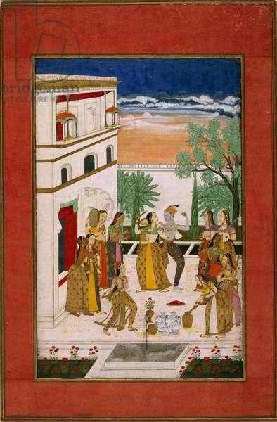 Vasanta Ragini, Radha & Krishna dancing, c.1760 (w/c on paper)
