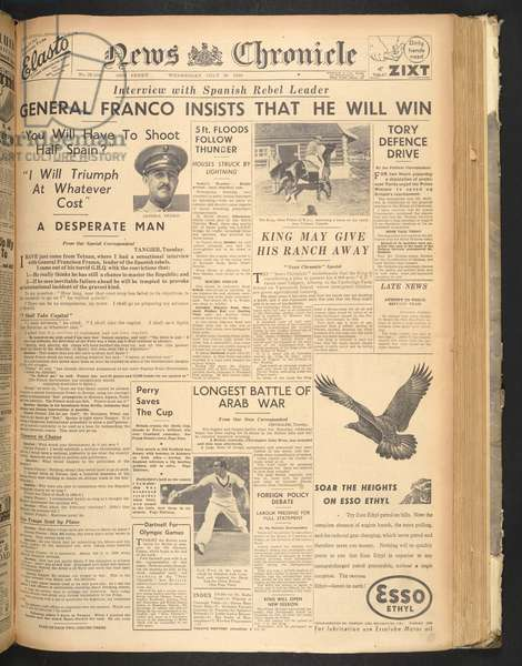 Interview with Franco by Jay Allen in the 'News Chronicle', 29 July 1936 (newsprint)