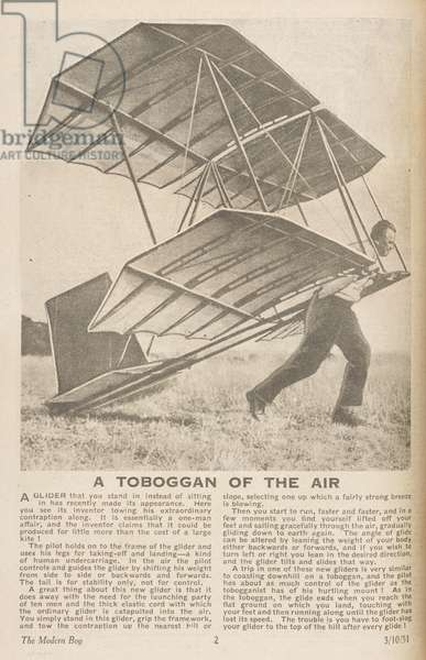 'A toboggan of the air.' An early glider.The Modern Boy October 3, 1931.